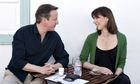 Britain's prime minister, David Cameron, and his wife, Samantha, stop for a drink on Lanzarote
