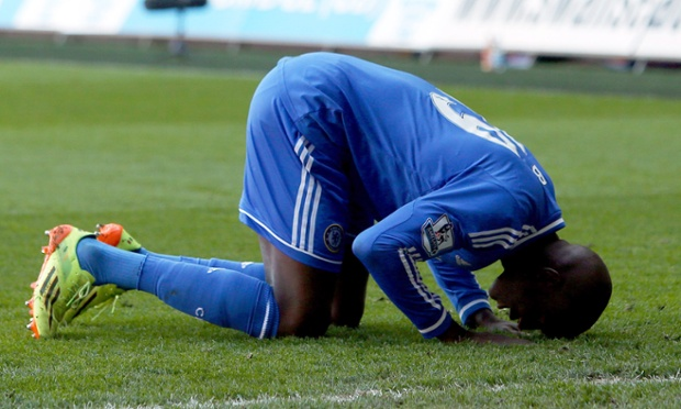 Demba Ba of Chelsea celebrates after scoring against Swansea.