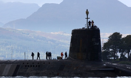 A Vanguard class nuclear submarine at Faslane Faslane naval base in Scotland.