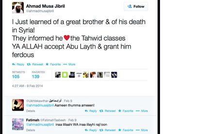 A tweet informing of a death