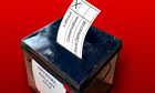 Election ballot box with voting slip going into the slot.. Image shot 2006. Exact date unknown.