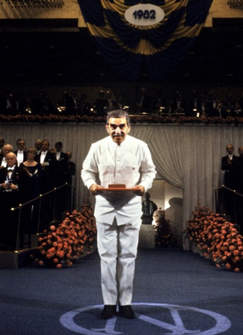 Gabriel García Márquez after receiving the Nobel Prize for Literature