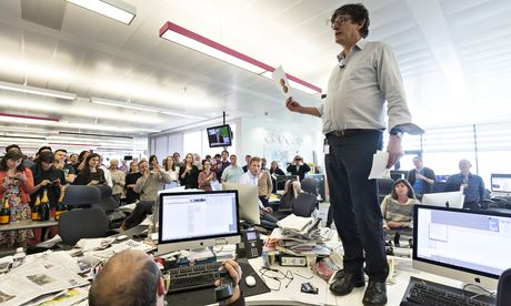 Alan Rusbridger addresses Guardian newsroom