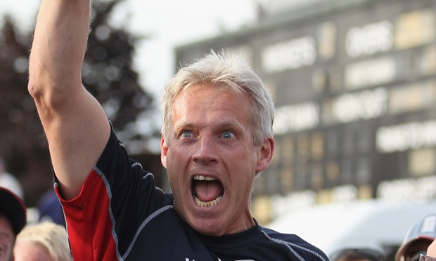 Peter Moores celebrating winning the County Championship with Lancashire in 2011.