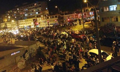 Evacuation under way in Antofagasta, Chile, after an offshore earthquake triggered a tsunami alert and full-scale civil emergency.