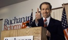 Presidential hopeful Pat Buchanan gives the thumbs up after announcing that he is quitting the Republican Party to run for President as a Reform Party candidate Monday Oct. 25, 1999.