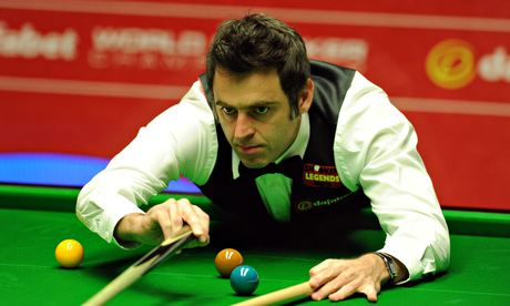 Ronnie O'Sullivan at the table during his first-round victory against Robin Hull