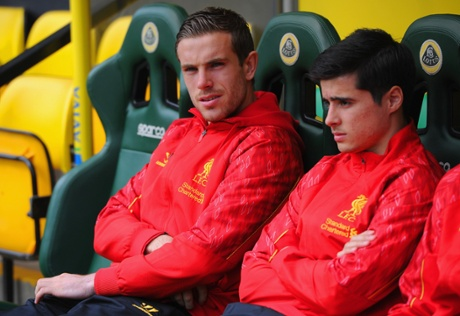 Jordan Henderson of Liverpool looks on from the bench before the Premier League match between Norwich City and Liverpool at Carrow Road.