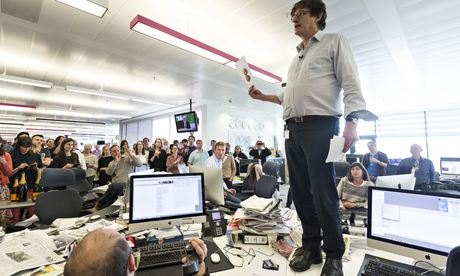 Alan Rusbridger addresses staff