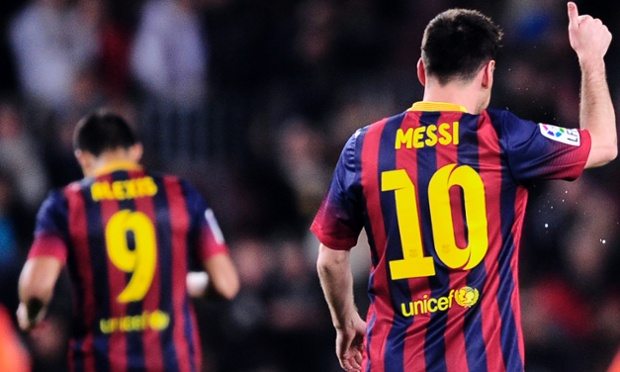 Leo Messi and Alexis Sanchez celebrate after Barcelona beat Athletic Bilbao.