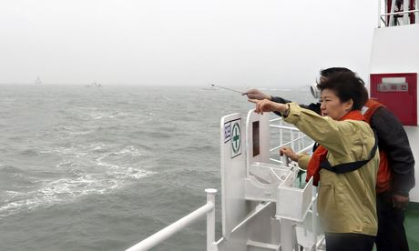 South Korean President Park Geun-hye looks around the site where the Sewol ferry sank.