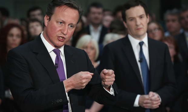 David Cameron and George Osborne holding a joint Q&A session at the Skanska HQ.