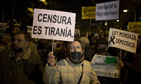 Demonstrators protest against Spain's new citizen security bill