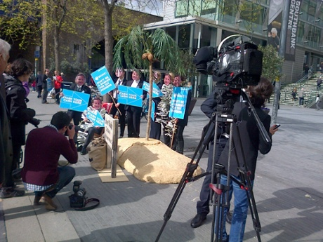 Protests outside Barclays AGM, April 24 2014