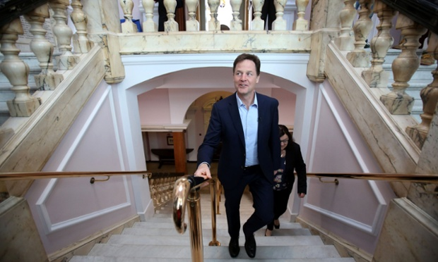 Nick Clegg arriving (late) for the Lib Dem European election campaign launch at the Moot Hall in Colchester Town Hall, Essex.