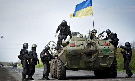Ukrainian soldiers north of Slavyansk