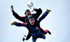 Stephen Sutton doing a sky dive for charity