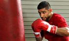 Amir Khan works out at a gym in California