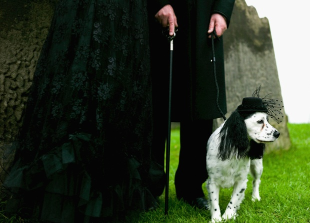 Two goths and a dog. ~ Getty Photograph by Ian Forsyth