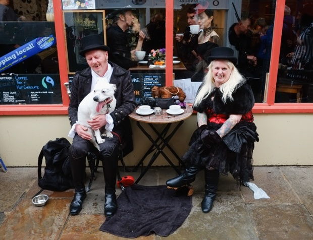 Two vampires outside a cafe ~ Getty Photograph by Ian Forsyth