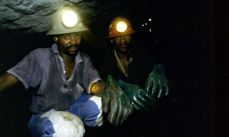 Anglo American gold miners at work in the Western Deep Levels near Carltonville,  South Africa.