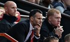 Manchester United's Nicky Butt, Ryan Giggs and Paul Scholes during the match against Norwich