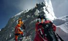 Climbers approaching the Hillary Step just below the summit of Everest
