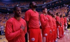 Before Sunday's nights Game 4 loss to the Golden State Warriors, Los Angeles Clippers wore their warmup jerseys inside out to protest alleged racial remarks by team owner Donald Sterling. (AP Photo/Marcio Jose Sanchez)