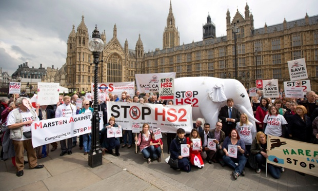 Protesters against HS2 demonstrate outside ahead of this afternoon's second reading debate on the HS2 bill.