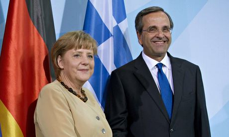 Angela Merkel and Antonis Samaris