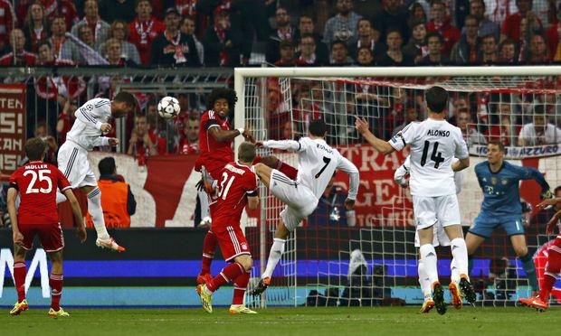 Real Madrid's Sergio Ramos scores the opener.