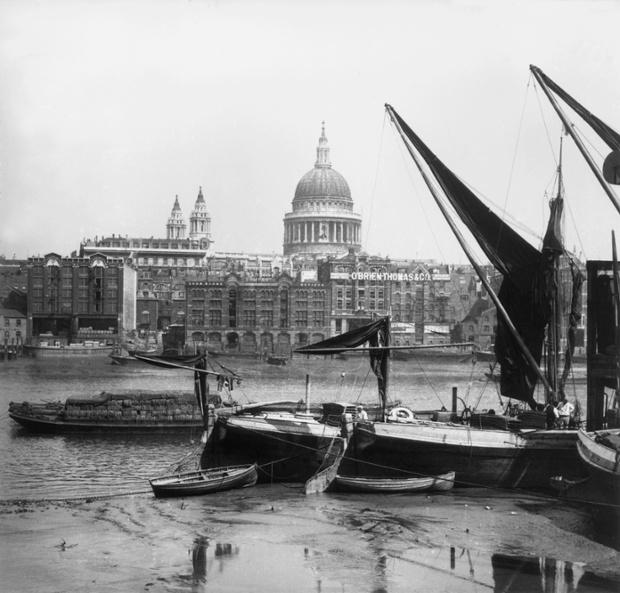 St Paul's Cathedral viewed from Southwark, across the River Thames, in 1859.