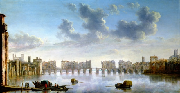 Old London Bridge, c. 1630 by Claude Jongh.