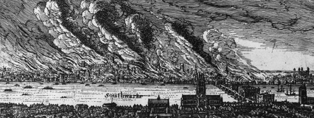 The Great Fire of London as seen from Southwark, 1666.