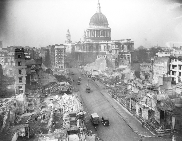 Cannon Street, looking toward St Paul's Cathedral,  virtually unscathed, after ceaseless German air raids, in 1942.