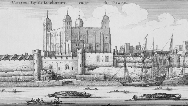 An engraving of the Tower of London, 1647.