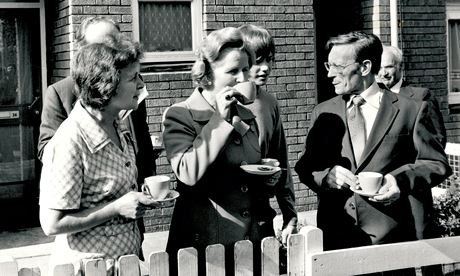 Margaret Thatcher takes tea with former GLC council house tenants in Balham in 1978.