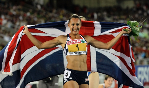 Britain's Jessica Ennis celebrates after winning the women's heptathlon at the European Athletics Championships in Barcelona, Spain, in July 2010