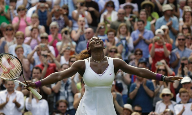 American Serena Williams reacts after defeating Victoria Azarenka of Belarus during a semi-final at the All England Lawn Tennis Championships at Wimbledon in 2012