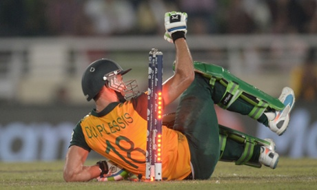 Faf du Plessis of South Africa is bowled during the ICC World Twenty20 Bangladesh 2014 semi final between India and South Africa.