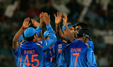India celebrate the dismissal of South Africa's Hashim Amla in the ICC World Cup Twenty20 semi-final.