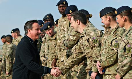 David Cameron meets British soldiers in Afghanistan.