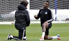 Samuel Eto'o warms up during Chelsea training