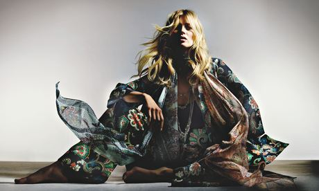 Kate Moss's new silk evening pyjamas, part of her upcoming Topshop collection.