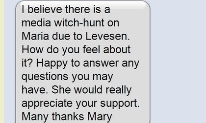 Screen grab of text message posted on Guido Fawkes' blog
