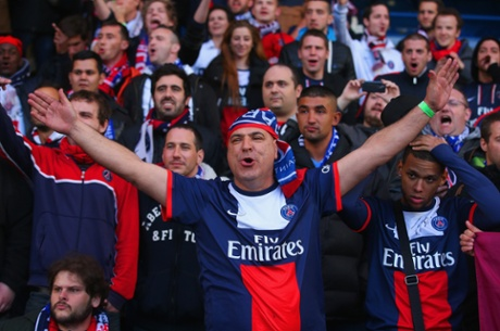 PSG fans sing before the Uefa Champions League Quarter Final second leg match between Chelsea and Paris St-Germain at Stamford Bridge.