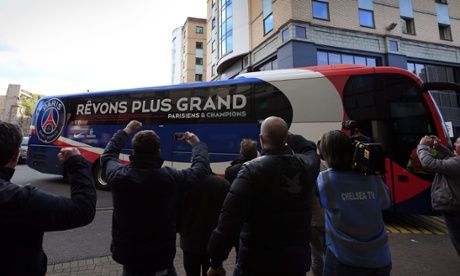 The Paris St-Germain team bus arrives at the stadium ahead of the Champions League quarter-final second-leg against Chelsea at Stamford Bridge.