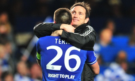 Chelsea's John Terry, left, celebrates their victory over Paris St-Germain with Frank Lampard.