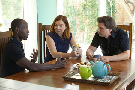 Don Cheadle, Dr. Katharine Hayhoe, and Dr. Andrew Farley in Pray For Rain, courtesy of The Years Project/SHOWTIME