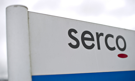 A Serco sign at the office in Truro, Cornwall